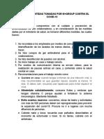MEDIDAS PREVENTIDAS TOMADAS POR M+GROUP