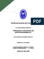 Syllabus Procesos Logísticos en Aprovisionamiento