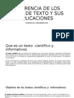 DIFERENCIA DE LOS TIPOS DE TEXTO Y SU APLICASION
