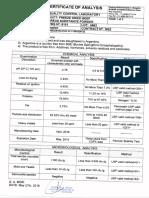 C.O.A. 8.151 F.D. Beef Pancreas Sub. Powder Lot 6662