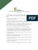 LISTA DE EXERCICIOS GASES Físico quimica