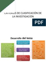 7.- Criterios de clasificación de la investigación y técnicas