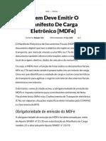 Quem deve emitir o manifesto de carga eletrônico [MDFe]