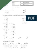 Atividade Matemática 9º ano Pot e Raiz