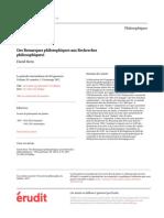 Des Remarques philosophiques aux Recherches philosophiques1