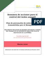 Plan de prevención de enfermedades transmitidas por el Mosquito AA