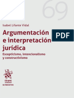 ARGUMENTACIÓN E INTERPRETACIÓN JURÍDICA - Isabel Lifante - Valencia 2018