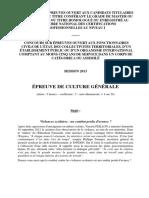 2013 - OG UNIV et CAT A - Épreuve de culture générale