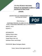 Practica 2 DIAGRAMA PRESIÓN-VOLUMEN DE UNA SUSTANCIA PURA A PRESIONES MENORES QUE LA ATMOSFÉRICA