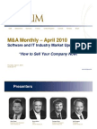 """""""How to Sell Your Company Now!"""" - April M&A Monthly Special Presentation"""