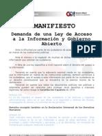 MANIFIESTO Demanda de una Ley de Acceso a la Información y Gobierno Abierto