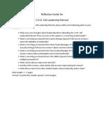 Living Leadership Program - COD Fall Leadership Retreat Reflection Guide