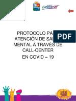 PROTOCOLO PARA ATENCIÓN  DE SALUD MENTAL EN COVID 2020 CALL CENTER