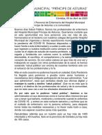 Carta Abierta personal de enfermería Hospital Municipal Príncipe de Asturias Córdoba