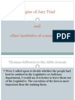 Origins of Jury Trial and Other Institutes of Common Law