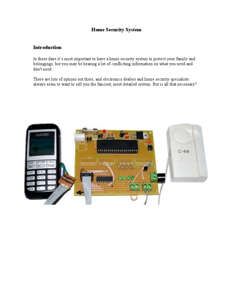 Mobile Based Home Security System Alarm Telephone Pir Sensor And Gsm Using 8051