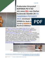 CORONAMATRIX 20 ANTYCHRYST W KROLESTWIE IDIOTOW M61 Prok. KOPANIA ZR von KOSIEWSKI SSetKh FO PP ZECh 20200407 ME SOWA Dr. SCHIFFMAN Covid 13 SIEBALD