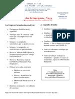 Summary Emergency Order Letter Spanish - Covid 19, Lawrence-MA BOH