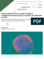 Bernie Sanders deixa nas mãos de Biden a candidatura democrata para as eleições presidenciais de 2020 | Internacional | EL PAÍS Brasil