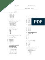 Evaluación de  factorizacion grado 8.