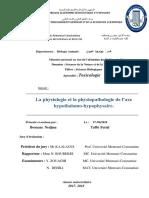 La Physiologie Et La Physiopathologie de l'Axe Hypothalamo-hypophysaire.