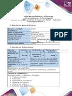 Guía de actividades y rúbrica de evaluación Paso 3 – Actividad colaborativa Unidad 2