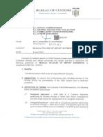 Memo Re Manual Release Import Shipments