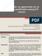 Legal English, an opportunity for an additional qualification among ESP courses