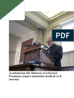 Academician Ilie Badescu avertizează_Presiunea asupra sistemului medical va fi enormă