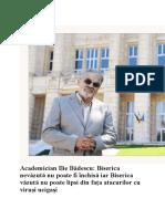Academician Ilie Badescu_ Biserica nevăzută nu poate fi închisă iar Biserica văzută nu poate lipsi din fața atacurilor cu viruși ucigași
