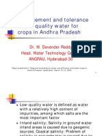 Management and Tolerance of Low Quality Water for Crops in Andhra Pradesh