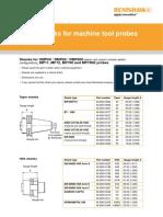 Taper shanks for machine tool probes data sheet