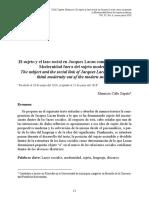 El sujeto y el lazo social en Jacques Lacan
