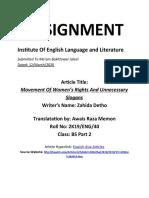 Translatation Assignment By Awais Raza 40