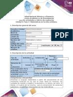 Guía de actividades y rúbrica de evaluación - Fase  3 - Matemáticas en la vida cotidiana