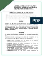 INFORME ANÁLISIS DE VALORES, MISIÓN Y POLÍTICAS ORGANIZACIONALES.