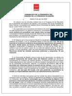 COMUNICADO DE LA PRESIDENTA DEL GOBIERNO DE LA COMUNIDAD DE MADRID