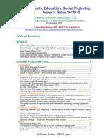 Health, Education, Social Protection News & Notes 26/2010
