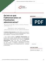 Qu'est-ce que l'administration et l'institution administrative_ - Cours