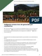 Indígenas correm risco de genocídio por coronavírus _ Combate Racismo Ambiental