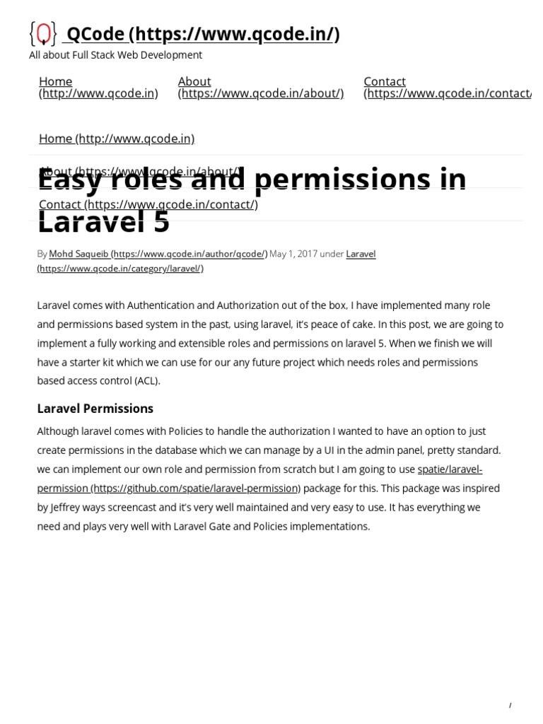 Easy roles and permissions in Laravel 5 - QCode.pdf | Mobile App | Password