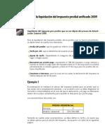 EJEMPLO LIQUIDACION IMPUESTO PREDIAL UNIFICADO 2009