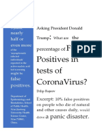 [A4 FAX.1]Asking President Donald Trump - What Are the Percentage of False Positives in Tests of CoronaVirus - by Dilip Rajeev