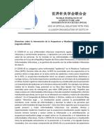 Directrices sobre la intervención de la Acupuntura y Moxibustión para COVID-19