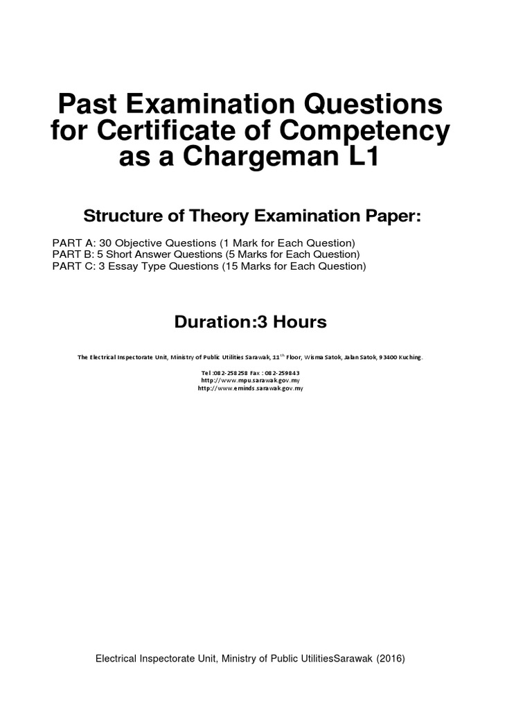 Past Examination Questions For Certificate Of Competency As A Chargeman L1 Transformer Electrical Wiring