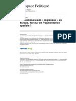 Les Nationalismes Regionaux1 en Europe Facteur de Fragmentation Spatiale