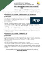 PROCEDIMENTOS PARA PROGRESSÃO FUNCIONAL DE DOCENTES-