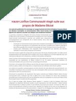 CP - Haute-Corrèze Communauté Réagit Suite Aux Propos de Madame Béziat