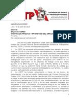 Carta CGTP a MTPE frente a propuesta de CONFIEP