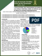 ANÁLISE DA ESTRUTURA POPULACIONAL DAS TAXOCENOSES DE ÁCAROS PLANTÍCOLAS E INFLUÊNCIA ESPAÇO-TEMPORAL SOBRE AS ESPÉCIES QUE CO-OCORREM EM ÁREAS DE CAATINGA REMANESCENTES 2